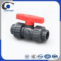 U-Plástico de PVC gris de la Unión doble válvula de bola de montaje del tubo de suministro de agua