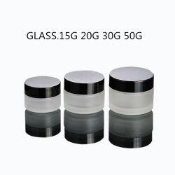 クリーム色の詰物のための黒い帽子との無光沢の白いガラス瓶のクリームの瓶15ml 20ml 30ml 50ml