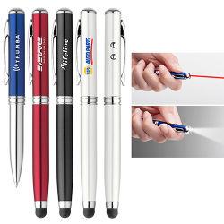 أداة كتابة أربعة في واحد الترويج للهدية تصميم الأزياء قلم معدني ضوء/لمس القلم الإلكتروني/مصباح الوميض LED/قلم مؤشر الليزر