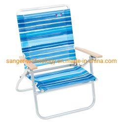 고품질 Layflat 비치용 의자, 나무로 되는 팔걸이를 가진 낮은 시트 접는 의자, 금속 프레임을%s 가진 쉬운 팝업 간편 의자