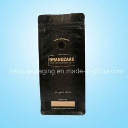 250 g de grains de café en papier kraft Sac à fond plat avec valve et de fermeture à glissière de poche