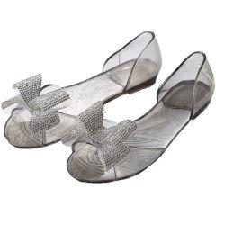 Les femmes s transparent des chaussures de la bouche de poisson Rhinestone Bow