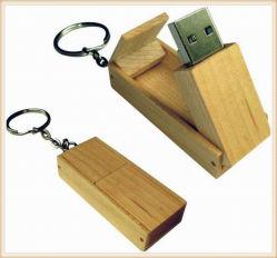 Memoria Flash USB de madera con llavero
