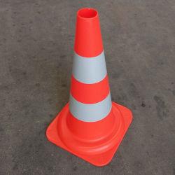 50cm estándar Europa PP Orange road conos de tráfico con el doble de 10cm cinta reflectante