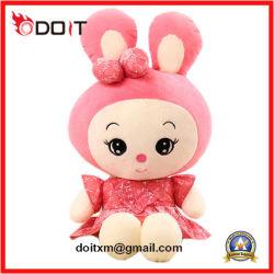 Bambola farcita della peluche del coniglio del pannello esterno di colore rosa della bambola della peluche