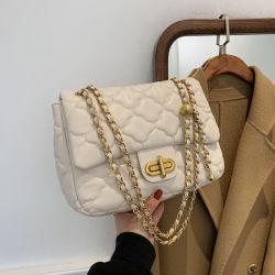 Famosa marca de luxo da moda Guangzhou 1: 1 Mulheres em pele genuína Látice Crossbody Ombro Bolsa acolchoada Senhoras mala