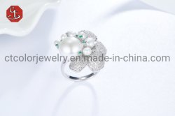 925 Joyería de Plata anillos de perlas de agua dulce natural juegos de joyería