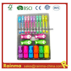 Caixa de oferta de artigos de papelaria definir com Mini-Marcador caneta de gel para o aluno Alimentação Papelaria