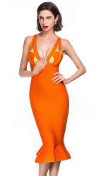 方法服の細い肩ひもの尻振り滑空の服のセクシーなオレンジVネックの服の包帯の服党摩耗