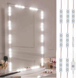 LED-Eitelkeits-Spiegel, Hollywood-Art-Eitelkeit bilden Spiegel mit 10FT dem ultra hellen Weiß LED, Dimmable Noten-Steuerlicht-Streifen, für Verfassungs-Eitelkeits-Tisch u. Bad