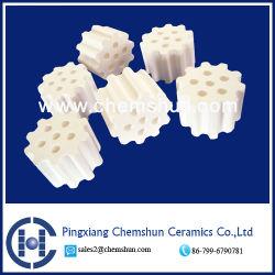 Anello in ceramica al 99% di allumina con 6 fori come supporto catalizzatore