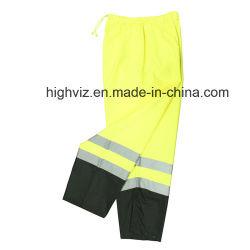 Pantalon de Pluie de sécurité avec la norme ANSI Standard haute vis pantalon jaune