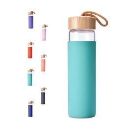 Горячие продукты 2020 Ecofriendly бамбук крышка стеклянная бутылка воды с помощью силиконового герметика гильзы