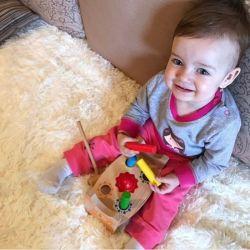 Bebé madera golpeando la bola de Educación Musical de Martillo de Banco de juguetes para niños