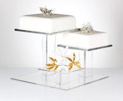 Square 3 support de niveau de l'acrylique gâteau