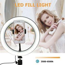 """10"""" Selfie Anel de luz LED Estúdio Fotográfico Dimmer LED da câmera de vídeo Selfie Anel de luz para Transmissão de Vídeo Espelho"""