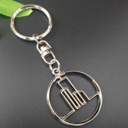 Fabricante Esboços personalizados com logotipo da empresa Metal Cadeia da chave de liga de zinco torre circular com revestimento de níquel Loja Argola para presente de promoção (KC07)