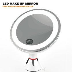 Miroir de maquillage avec 7x/10x Loupe lumineuse à LED, miroir cosmétique à base d'aspiration pour le maquillage, maquillage et rasage Tweezing, accueil et les voyages, rond