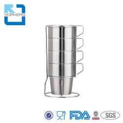 Stapelbare 4 Stücke Edelstahl-Kaffeetasse-u. Getränk-Cup-Sets mit Zahnstange mit Griff