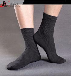 Qualité respirante confortable Soft noire chaussettes pour hommes de fibre de bambou