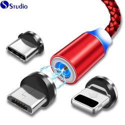 Hot Sale 2019 Dernière ronde de LED Android 1 mètre de câble de charge magnétique Câble micro USB