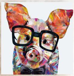 Studeer Pig Oil Painting Voor Wall Art
