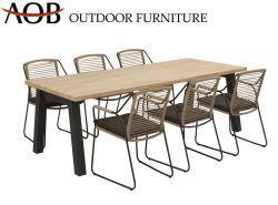 Chinesischer moderner im Freien Garten-Ausgangsmöbel 6 Seater Aluminiumteakholz-Oberseite-Tisch-gesetztes Seil, das Eisen-Stuhl speist