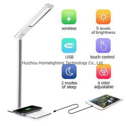 Jld-0319 Qi drahtlose aufladennote, die LED-Anzeigen-Tisch-Lampe mit USB-Kanal verdunkelt