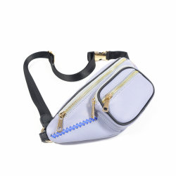 Pochette en plastique bleu noir petit coin Purse Smart poitrine Fashion Lady PU Taille sacs avec deux compartiments Plus W610-5