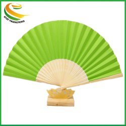 Großhandel OEM Hochwertige Bamboo Rid Faltbare Einfarbige Papierfächer-Geschenkhandlüfter