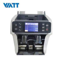 새로운 Wt-900 혼합 금액 은행 참고 다중 통화 금액 카운터 통화 현금 분류 기계 및 2개의 포켓페이퍼 노트 청구서 카운터