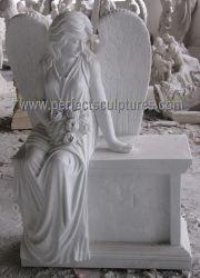 Monument van de Engel van de Begraafplaats van de douane het Witte Marmeren Standbeeld Gesneden voor het Beeldhouwwerk van het Kerkhof (sy-X1732)