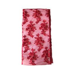 Merletto viola del bordo del merletto 3D di Applique dei fiori del merletto 3D della spedizione veloce di alta qualità della tessile di Guangzhou per i vestiti da cerimonia nuziale