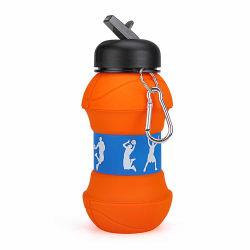 550 мл творческий дар баскетбол воды портативный против утечки в раскрывающемся списке силиконового герметика бутылка воды спортивных мероприятий на улице бутылка воды индивидуального силиконового герметика Складывание наружного кольца подшипника