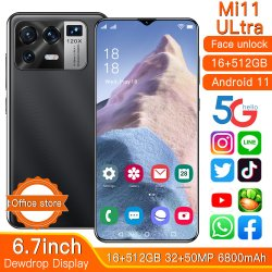"""Versione globale mi 11 smartphone Ultra 6.7"""" 6800 mAh 16g+512g Cellulare Android sbloccato supporto Google GPS 5g cellulare"""