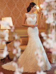 Voir au travers de la Dentelle mariage robe de soirée robe de mariée le bas du dos Mermaid
