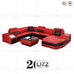 Hauptform-lederne Sofa-geschnittenmöbel des wohnzimmer-U
