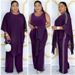 Taille (L XL XXL XXXL) 2020 vêtements africains de la conception des combinaisons pour les quatre saisons occasionnel Lady/Femmes combinaisons+Chiffon enduire 2PCS