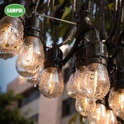 Fábrica china Waterproof S14 LED blanco cálido de la luz de la cadena establece en el cable negro para decoraciones de Navidad