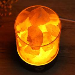 Lâmpada de rocha de sal do Himalaia natural lado entalhado Lâmpada de sal com base de madeira natural de vidros decorativos inicial salt rock Light