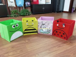 Cajas de almacenamiento de contenedores plegables Organizador de cestas de cubo con tapa para el hogar dormitorio