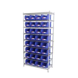 El depósito de almacenamiento de la unidad de estantes de metal piezas de repuesto para la organización