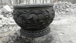 Piallatrici in granito nero naturale, vaso per cartaving in marmo, vaso per fiori in pietra per decorazione da giardino