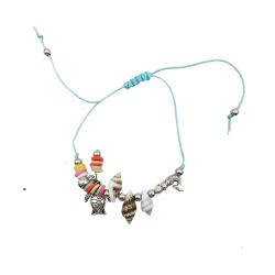 Bracelet tressé avec trois petits coquillages et de deux animaux d'argent