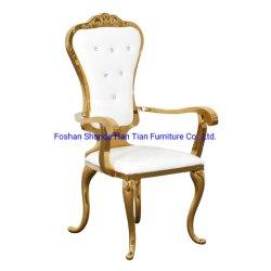 Stellt grosser Chiavari Bankett-Stuhl Armlehnen-Hotel-Hall-mit Goldstahl Wohnzimmer-Stühle dar