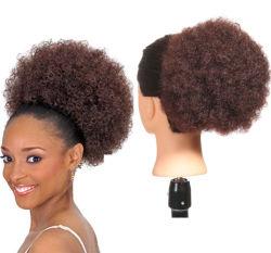 Kinky Curly fibra Kanekalon sintético Bun Afro para las mujeres negras