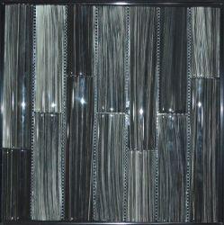Azulejo de mosaico de cristal de la venta de Handprinting del negro de bambú caliente de la serie