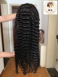 Vague profonde personnalisé brésilien repère vierge naturelle des cheveux humains des femmes de 26 pouces 360 Lace Wig