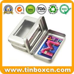 Fridge Magnet Carte cadeau en métal à charnière de l'étain Boîte avec fenêtre PVC