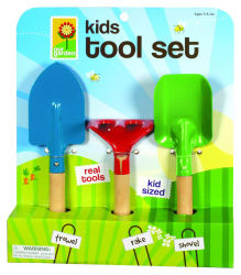 Kid's 3 pièce de jeu d'outils de jardin, outils de jardinage Multi-Color
